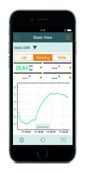 Testo Refrigeration Sample App Screen