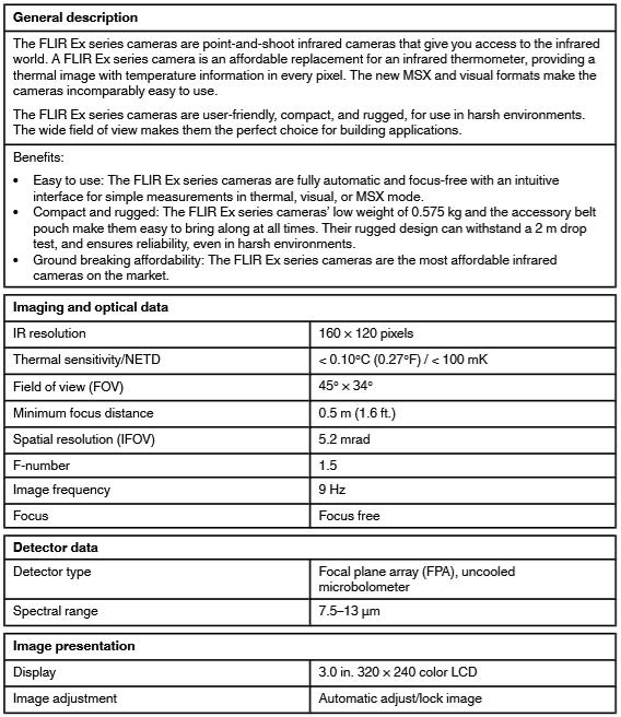 Flir E5-XT Specification