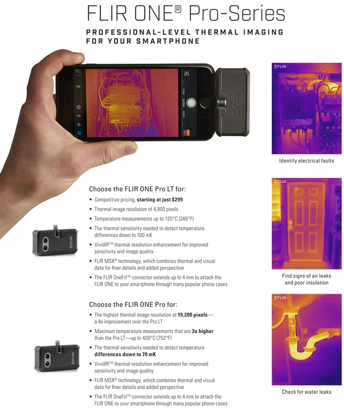 FLIR ONE Pro and LT Choose your model