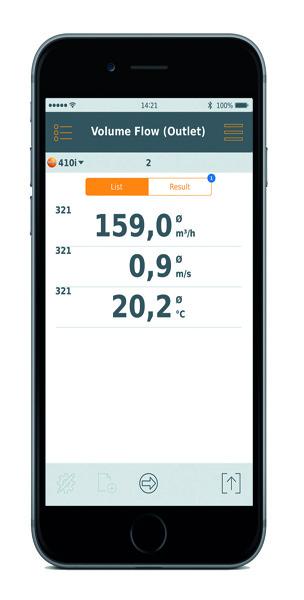 Testo 410i Sample App Screen