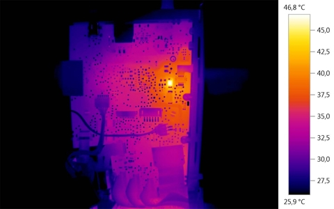 Making it possible to see critical temperatures on circuit boards precisely